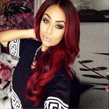 2016 Fashion Ombre Red Hair Long Wave Wigs Synthetic Lace Front Wigs Red Ombre Color Heat Resistant Synthetic Hair Wigs