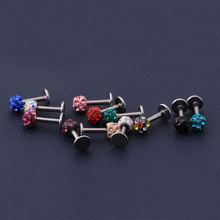 Fashion 11 Colors Stainless Steel Unisex Trendy Crystal Ball Lip Ear Studs Colorful Body Piercing Jewelry