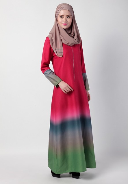 Rainbow Colors Muslim Women Kaftan Islamic Abaya Dress Long Sleeve Summer Robe Jilbabs Middle East Arab Style Floor-Lenght Dress