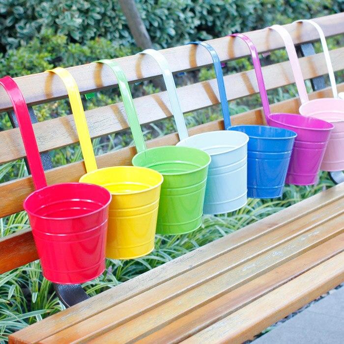 Us 149 Wielokolorowy Kwiat Pot Metalowe Wiszące Doniczki Demontowalny Balkon Wiszący Wiadro W Doniczki I Skrzynki Do Kwiatów Od Dom I Ogród Na