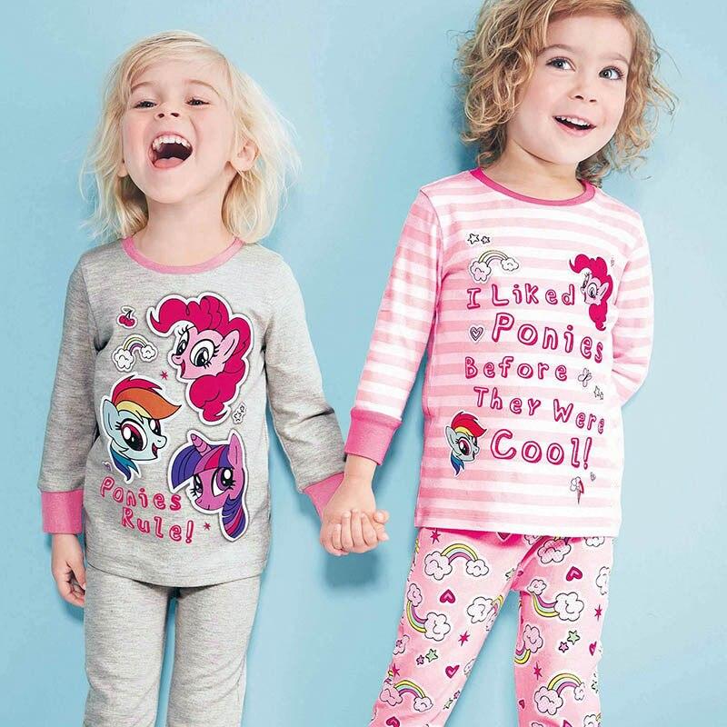 Новые весенние пижамные комплекты для маленьких девочек осеннее ночное белье с длинными рукавами хлопковые детские пижамы комплекты осенней детской одежды от 1 до 6 лет