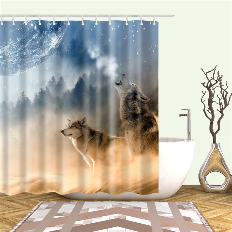 Washable Polyester Fabric Shower Curtain for Bathroom Home Decorative Nordic Animals Wolf Print Cortina with 12pcs Hooks