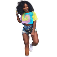 f9a1dc287f250a Colorful Tie Dye Casual Short T Shirt Feme Mesh Splice Hollow Sexy Crop Top  Summer O