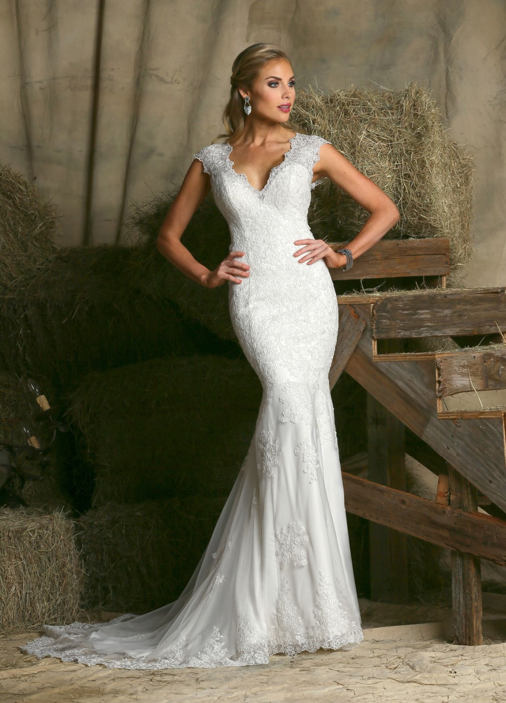 Feminine Fit and Flare Floor length Illusion Back Bridal Gown V neck ...