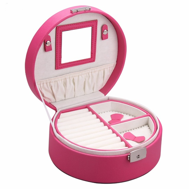 Mini Jewelry Box For Girls Gift Small Velvet Organizer Round Travel Case Rings Necklace Croc Pattern