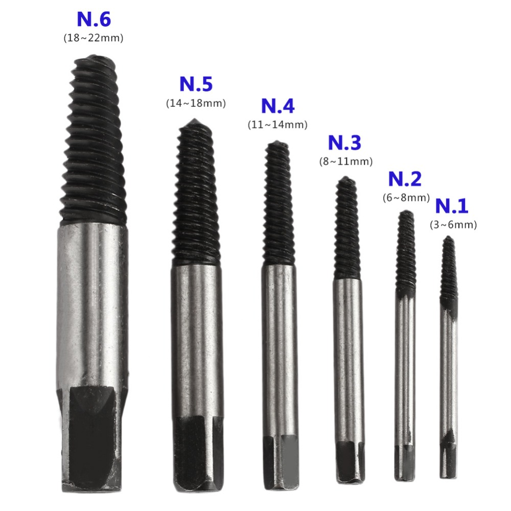Hand & Power Tool Accessories Screw Extractor Set Tool Detail Extracting Metal Silver Black The Nail Puller Bolt Remover Carpentry Nail Boring Crown Durable Drill Bits