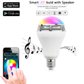 ¡ Venta caliente!!! inteligente más nuevo llevó la luz de bulbo inalámbrica bluetooth altavoz de color regulable e26 y e27 lámpara altavoz de audio para el teléfono inteligente