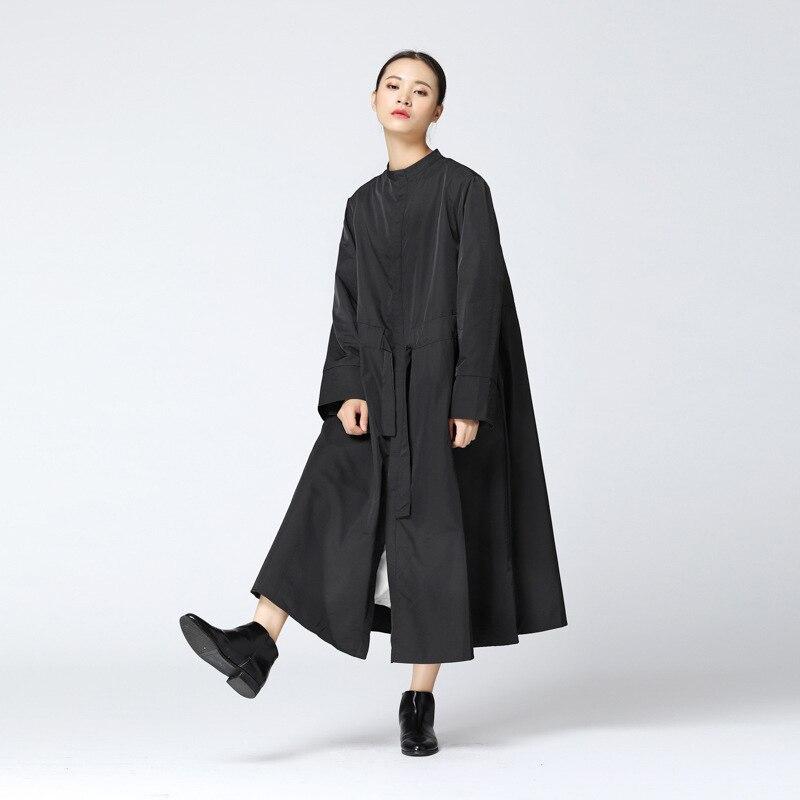 Kadın Giyim'ten Siper'de CHICEVER Sonbahar kadın Ceket Yüksek Bel Dantel Up Mandarin Yaka Uzun Kollu Gevşek Boy Kadın Mont 2019 Moda Gelgit yeni'da  Grup 3