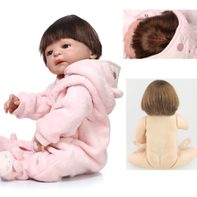 22 Inch silicone reborn baby dolls	girl gender body blues eyes  best reborn babies bonecas toys for bebe children