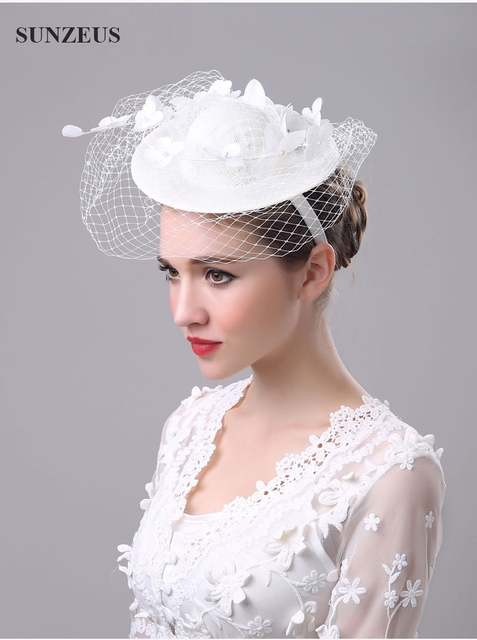 Best Selling Beautiful White Floral Wedding Veil Hats For Bride Mother  Chapeau Femme Mariage Chapeu Noiva 541ddf8d75c0