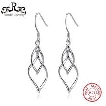 Rinntin Authentische 925 Sterling Silber Lange Ohrringe Für Frauen Tanzen Blätter Design Ohrringe Weibliche Brincos Edlen Schmuck TSE73