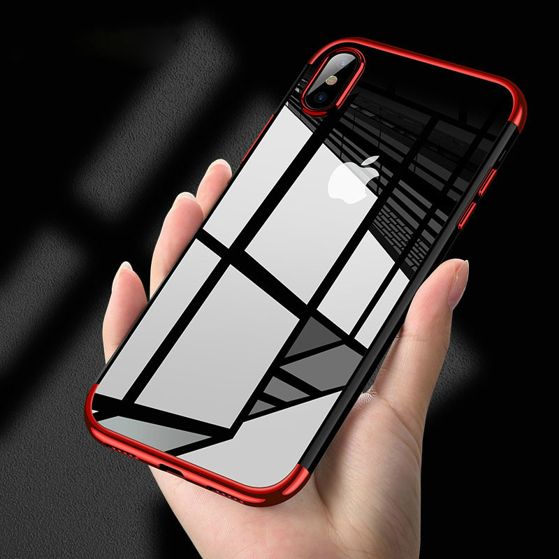 Plating Clear Silicone Case for iPhone XS Max X XR case Transparent Soft TPU cover for iPhone 6S X 7 8 Plus XS Mobile Phone Bag in Fitted Cases from Cellphones Telecommunications