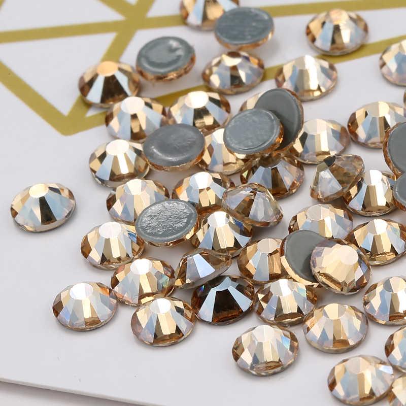 QIAO SS6-SS20 GSHA AB/золотые тени горячей фиксации камень Flatback Стекло Стразы Украшения