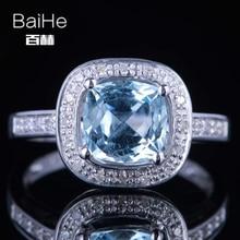 BAIHE Solid 14K White Gold(AU585)1.9CT Certified Genuine Sky Blue Topaz/Flawless Cushion Wedding Women Trendy Fine Jewelry Ring