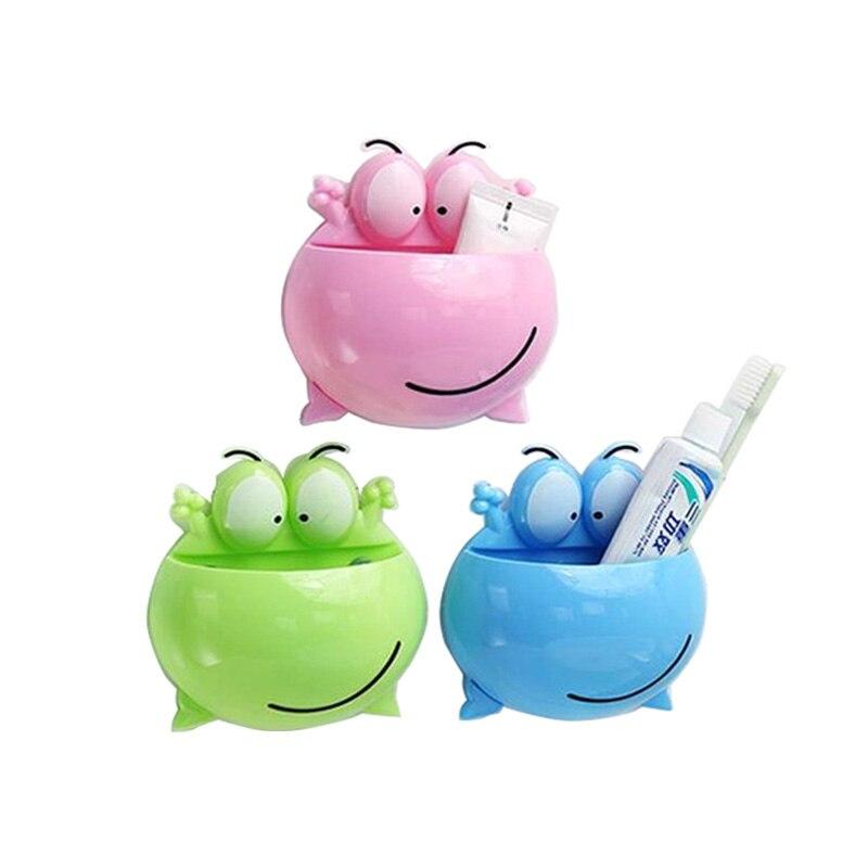 1 предмет Симпатичные Лягушка всасывания стены крюк глупо лягушка стойку зубной щетки мультфильм полка Аксессуары для ванной комнаты Ванна... ...