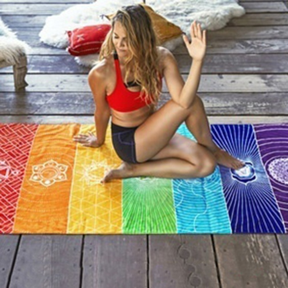 75*150cm Rainbow Stripes Scarf Bohemia Wall Hanging Blanket Summer Beach Towel Yoga Mat 7 Chakra Colored Tapestry Yoga Mat