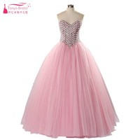 Pink Crystal Tulle Ball Gown Prom Dresses 2018 Empire Tulle Formal Evening Gown Bling Bling Prom Gowns