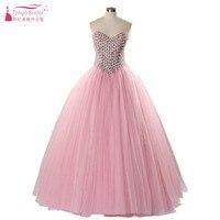 Cristal de color rosa de Tul vestido de Bola Vestidos de Baile 2018 Empire Tulle Formal Vestido de Noche Bling Bling Prom Vestidos