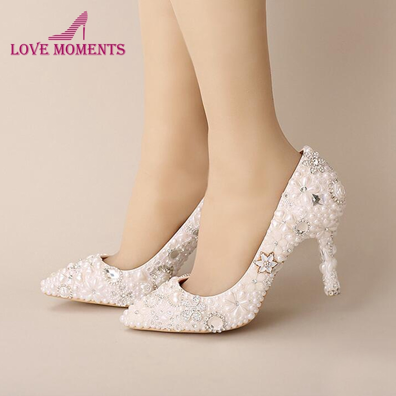 Pink Wedding Shoes Pointed Toe Formal Dress Shoes Pearl
