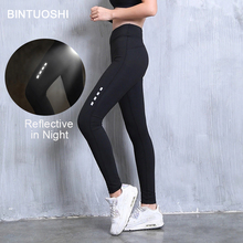цены BINTUOSHI Reflective Yoga Pants Women High Waist Sport Leggings Quick Dry Fitness Running Tights Gym Training Leggings Women
