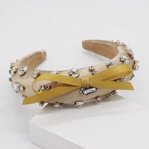 Image 5 - הבארוק אופנה יוקרה כדור סרט ריינסטון bow בגימור סרט שיער להקת נשי ילדה שיער אביזרי 965