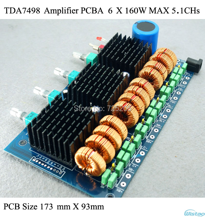 Amplifier PCBA for 6 X 160W (MAX) HIFI Digital Class D TDA7498E Home Amplifier Car Amp Audio 5.1 CHs DIY Free Shipping queenway airs digital car cd player change to home audio hifi professional amplifie hifi car home amp b