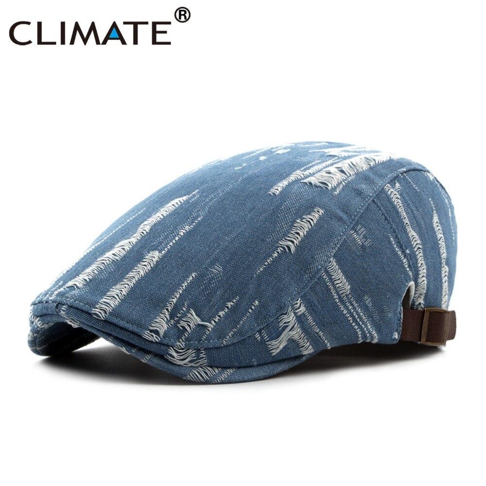 CLIMATE Men Women Denim Flat Berets Caps New Autumn Spring Unisex Adult Jeans Hat Adjustable Adult Cotton Denim Jeans Flat Caps