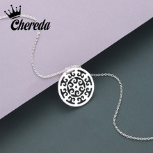 Chereda Round Dainty Gold Mandala Necklace for Women Hollow Round Pendant Men Party Delicate Girl Necklaces delicate beads hollow ring for women