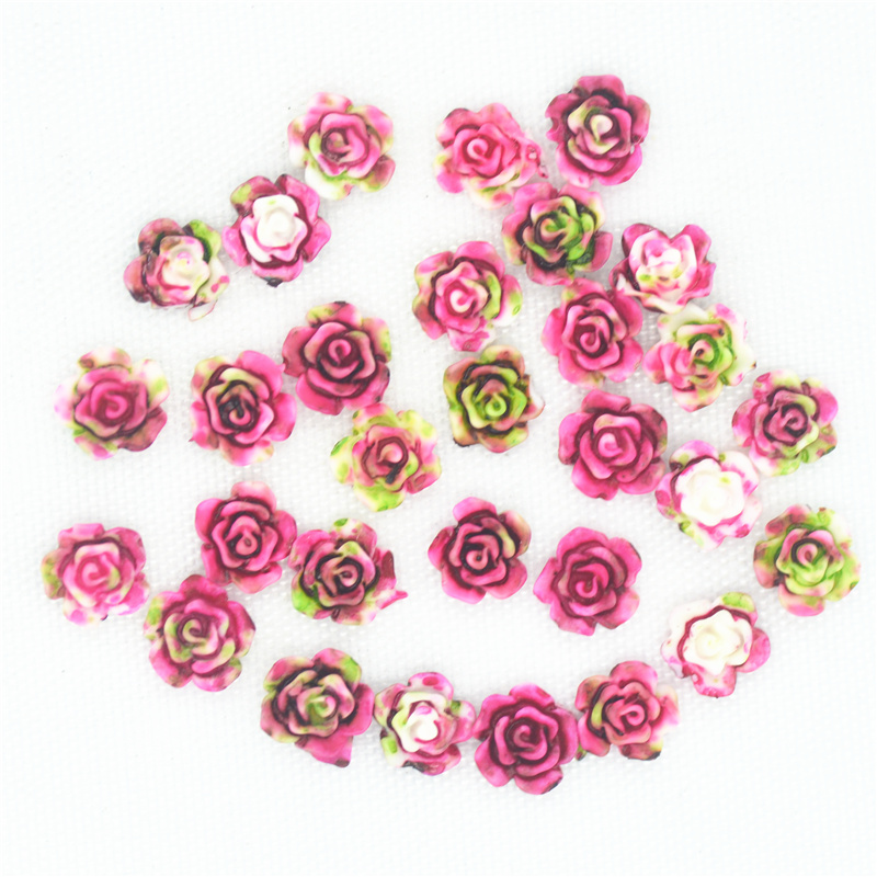 1pc 30 x 40 mm vintage look  pink Rose flat back glass cabochons