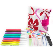 1Pc Colorful Soft Handle Aluminum Crochet Hooks Knitting Set Household Canvas Bag Kit