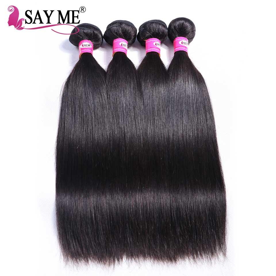 SAY ME Straight Hair Bundles Indian Hair 100 Human Hair Weave Bundles Remy Hair Weave Can