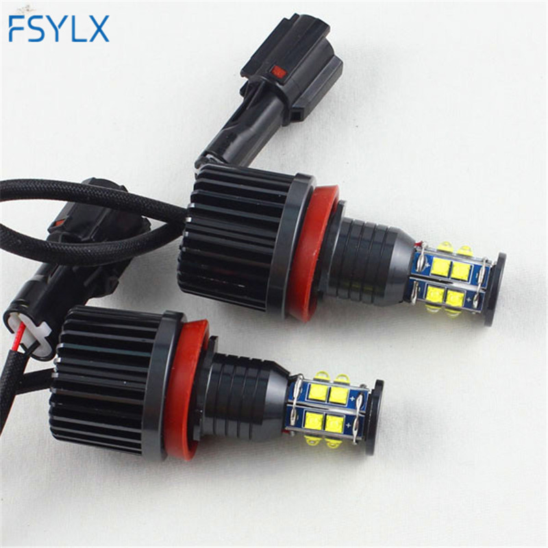 FSYLX 120w H8 LED Angel Eyes for BMW E92 X5 E70 X6 E71 E90 E91 E92 M3 E89 E82 E87 Led Marker halo rings Lights canbus error free