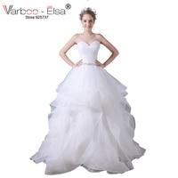 VARBOO ELSA Vestido De Festa Sweetheart Ruffles White Organza Wedding Dress Long Sexy Strapless Bridal Dress