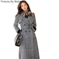 New Dress Women Winter Ttrench Coat Full Sleeve Autumn Warm Female Long Plaid Outwear Plaid Gray