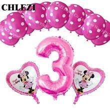 С днем рождения! Ребенок 3 года Минни тема Микки вечерние декоративные фольгированные шары Dot латексные шары Детские игрушки baby shower 13 шт./лот
