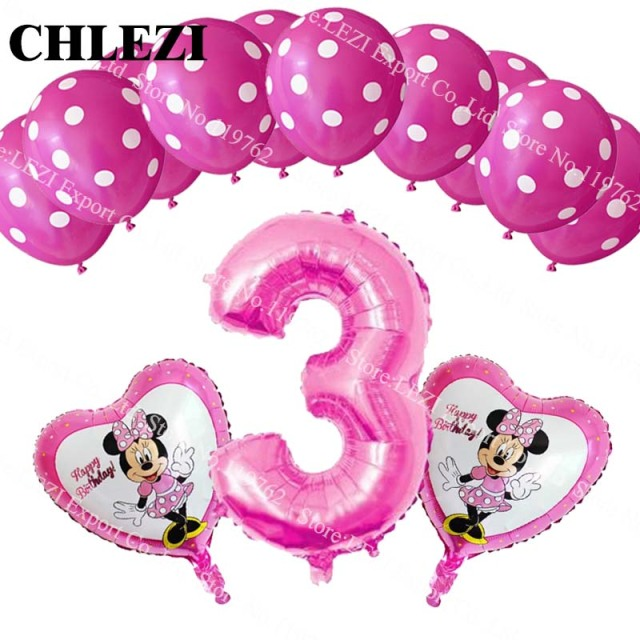 Verjaardag Baby 3 Jaar Oud Minnie Mickey Thema Party Decor Folie