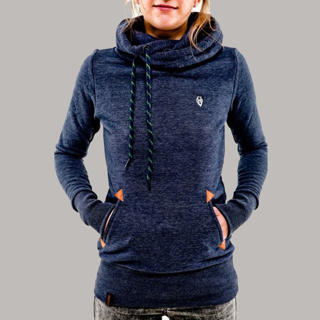 Treino mulheres 2017 Outono Inverno Mulheres Casual Hoodies Sólidos Lapela Com Capuz Novas Camisolas Pullovers Turn-down Collar Plus Size