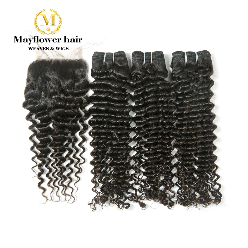 "Mayflower 100% Virgin Malaysian Hair Deep Wave 3/4 Bundles With 4x4"" Swiss Lace Closure 12-24"" Mixed Length Natural Color"