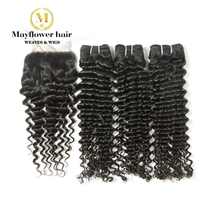 Mayflower 100% Virgin Malaysian Hair Deep Wave 3/4 Bundles With 4x4 Swiss Lace Closure 12-24 Mixed Length Natural Color Salon Hair Supply Chain