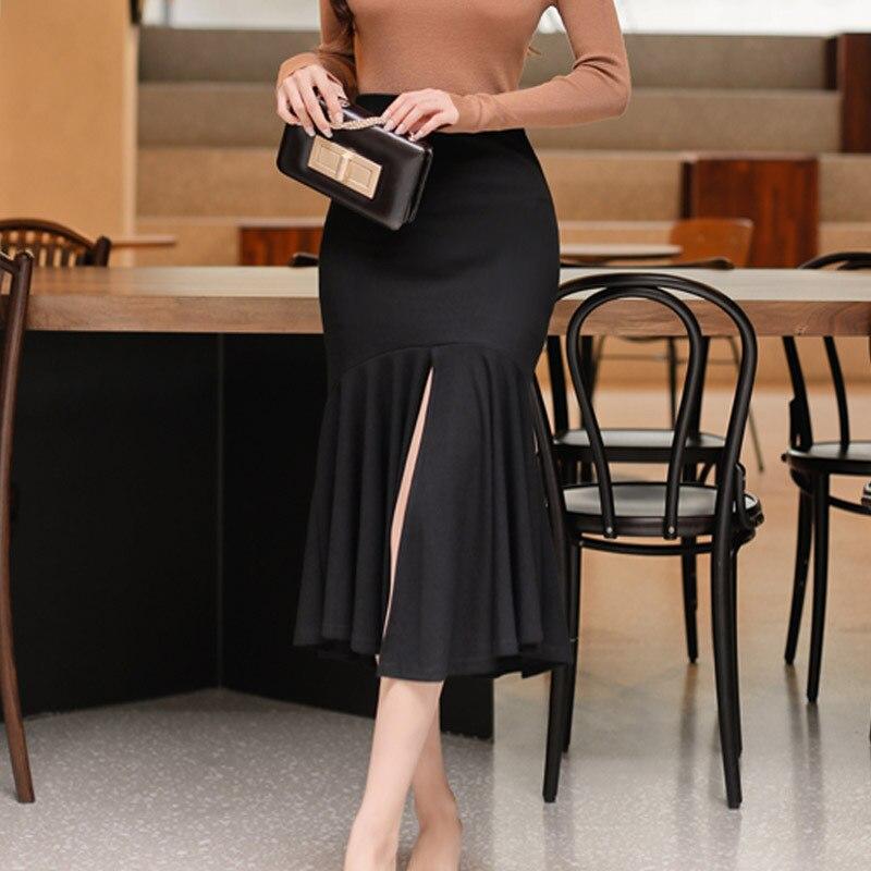 Ensemble 2 pièces femmes costume 2017 automne manches longues évider chemise hauts Blouse et noir volants jupes haut court et jupe Vestidos - 4