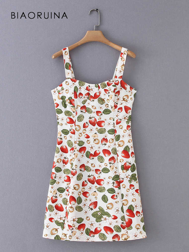 BIAORUINA женское винтажное мини-платье без рукавов с фруктовым принтом женское милое платье с v-образным вырезом и высокой талией модное тонкое платье Vestidos