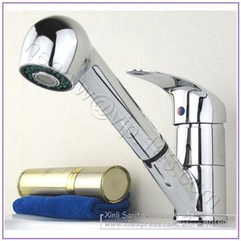 L15769 - Luxury Chrome Color Brass Material Single Lever Pull Out Kitchen Faucet