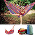 Summer High quality camping hammock 200x80cm Canvas Parachute Hamaca Outdoor Camping Hammock Hanging Bed - Red + Yellow