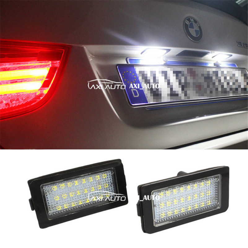 2x Error Free 24 LED License Plate Lights 3528 SMD For HID License Number Plate Light Lamp For BMW E38 2x e marked obc error free 24 led white license number plate light lamp for bmw e81 e82 e90 e91 e92 e93 e60 e61 e39 x1 e84