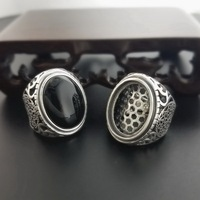 Natural Black Onyx Oval Stone Solid Silver 925 Wide Band Rings Men 100% Pure Sterling Silver 925 Thai Silver Vintage Male Rings