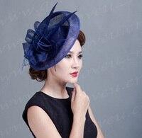 elegant Ladies roya fascinators,sinamay fascinator,women linen feather hat,wedding/party hair accessory,feather hat