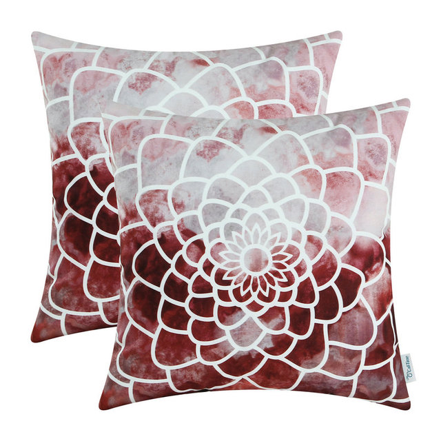 calitime dahlia pillow covers garden soft burgundy item colorful super pillows throw floral x