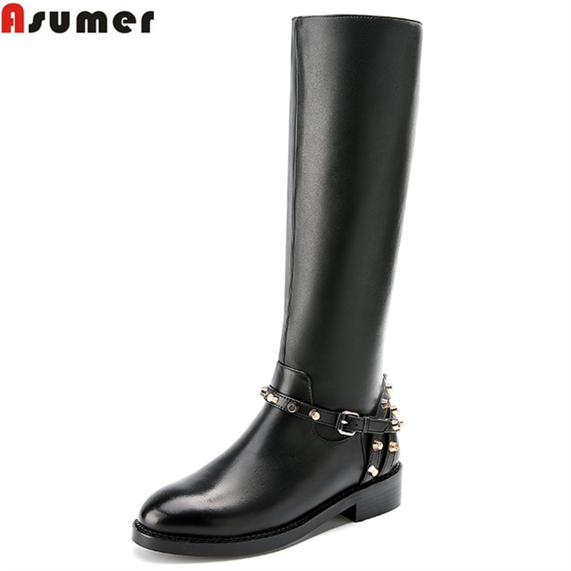 Online Get Cheap Knee High Leather Boots Black -Aliexpress.com ...