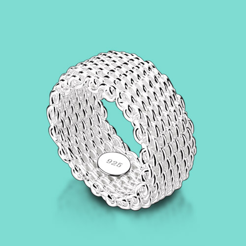 Silver ring 925 sterling silver ring female fashion and personality Weave a sterling silver ring ring a birthday present