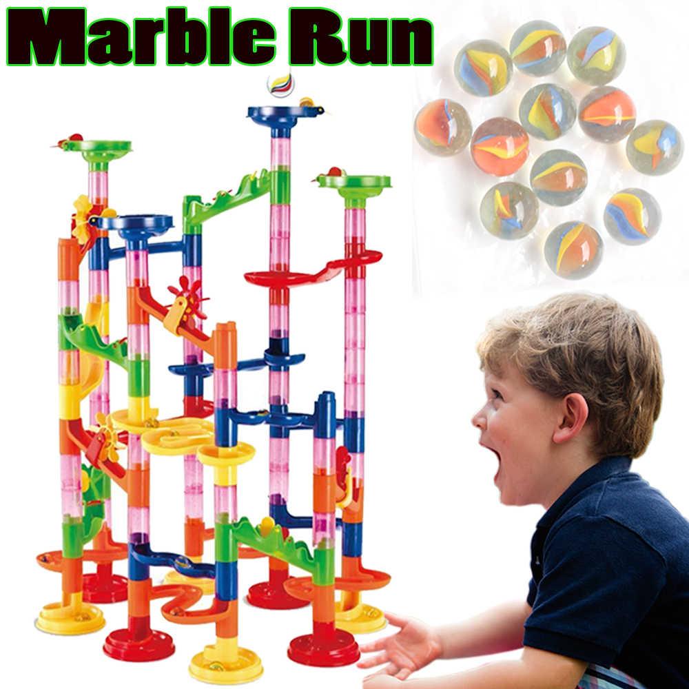Абсолютно новые пластиковые модельные наборы набор 2017 мраморная Беговая игрушка для детей 105 шт. сборка 3D модель строительные блоки с шариками на роликах